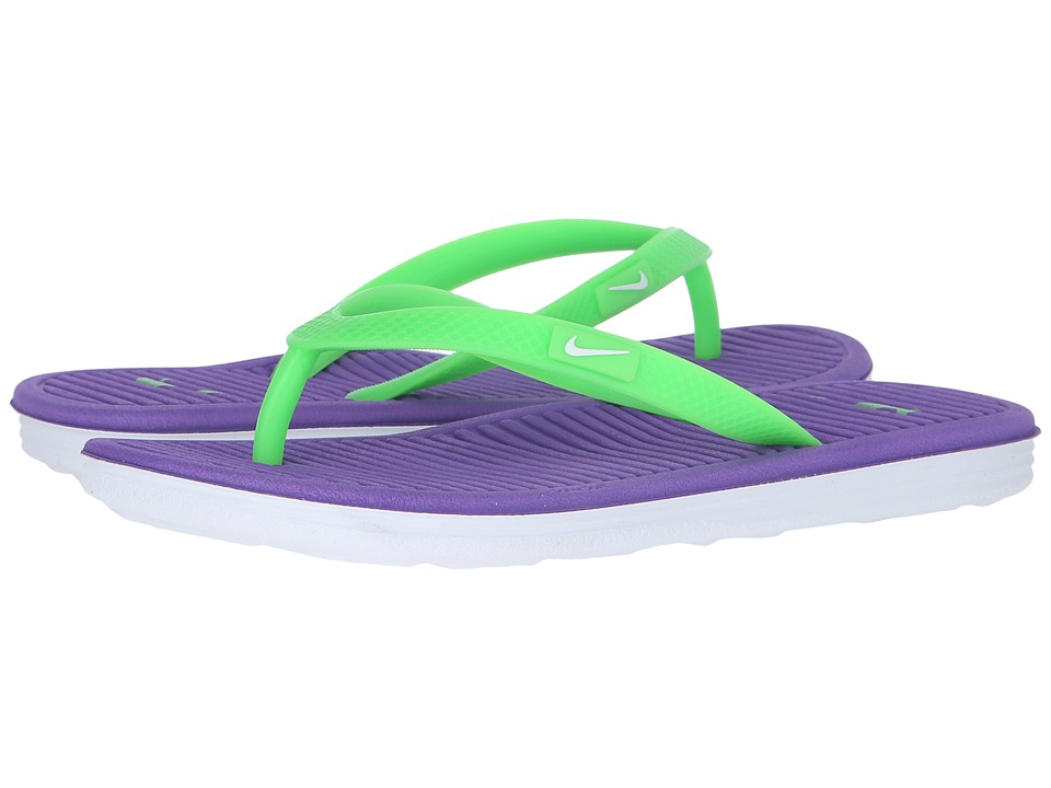 Nike Kids - Solarsoft Thong 2 (Little Kid/Big Kid) (Hyper Grape/White/Voltage Green) Girls Shoes