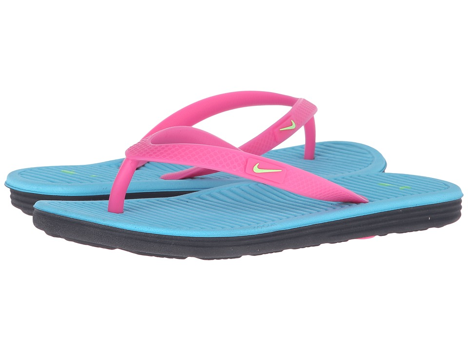 Nike Kids - Solarsoft Thong 2 (Little Kid/Big Kid) (Pink Blast/Gamma Blue/Black/Ghost Green) Girls Shoes