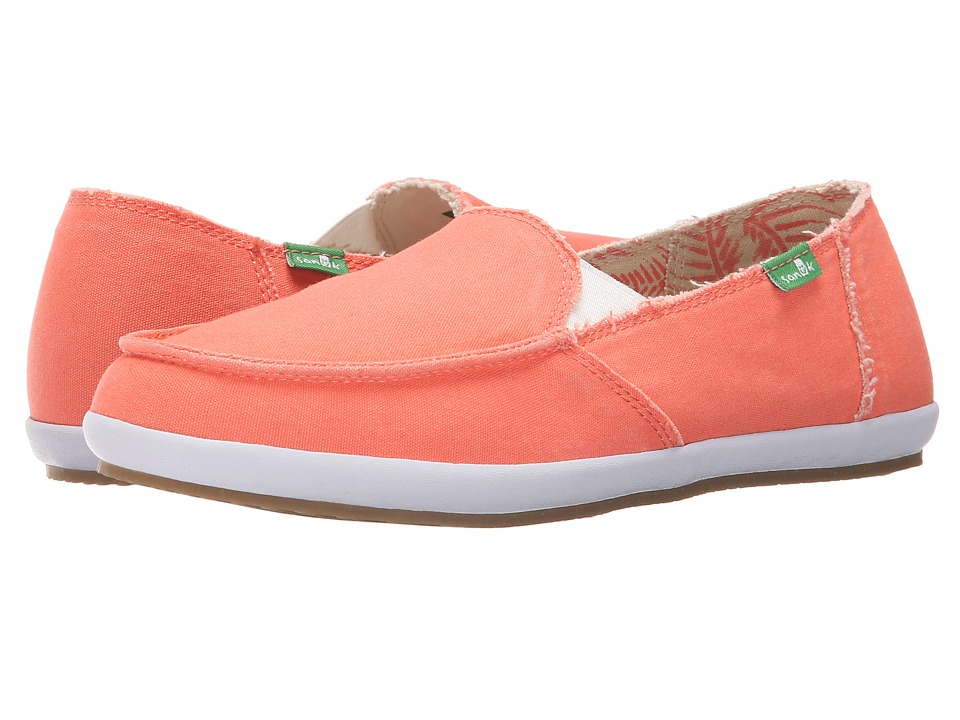 Sanuk - Overboard (Hot Coral) Women's Slip on Shoes