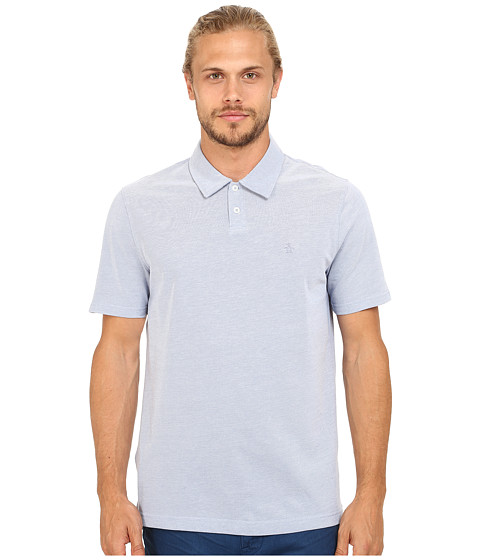 Original Penguin - All Over Bird's-Eye Pique Polo (Faded Denim) Men's Short Sleeve Knit