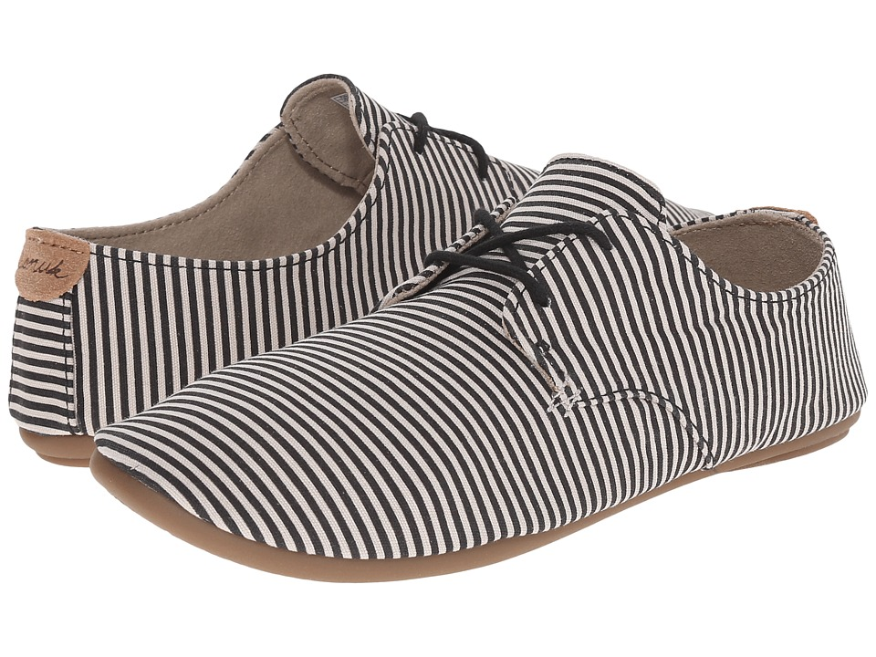 Sanuk - Bianca Prints (Black/Natural Stripes) Women's Slip on Shoes