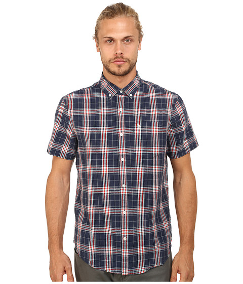 Original Penguin - Linen Plaid Short Sleeve Woven Shirt (Dress Blue) Men