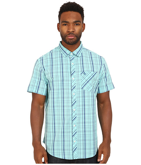 Original Penguin - Mod Plaid Short Sleeve Shirt (Aqua Splash) Men