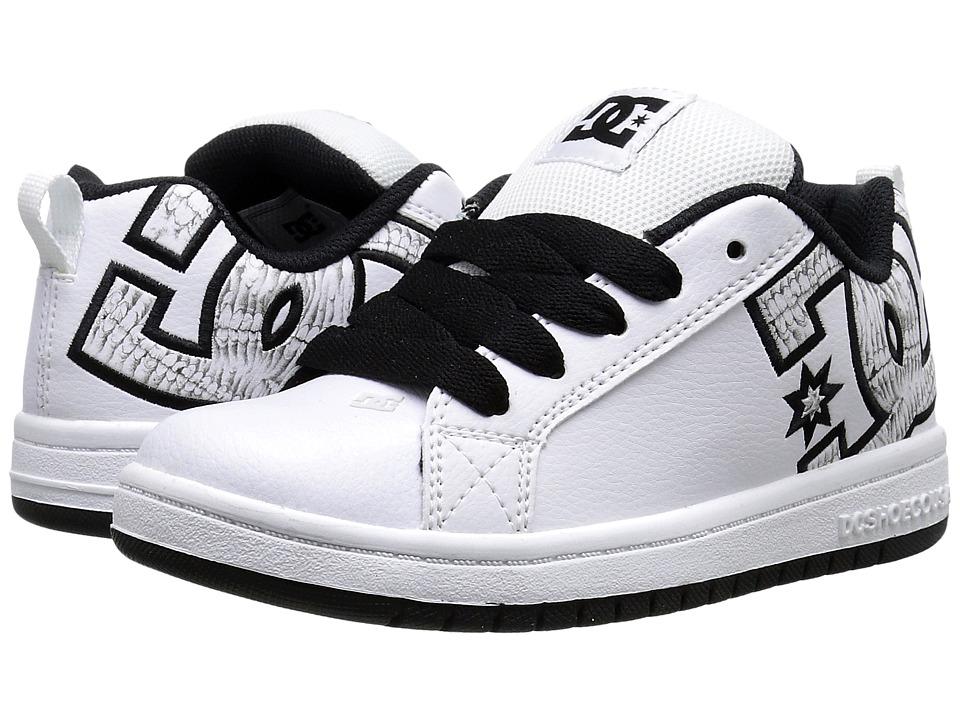 DC Kids - Court Graffik SE (Big Kid) (White/Black Print) Boys Shoes
