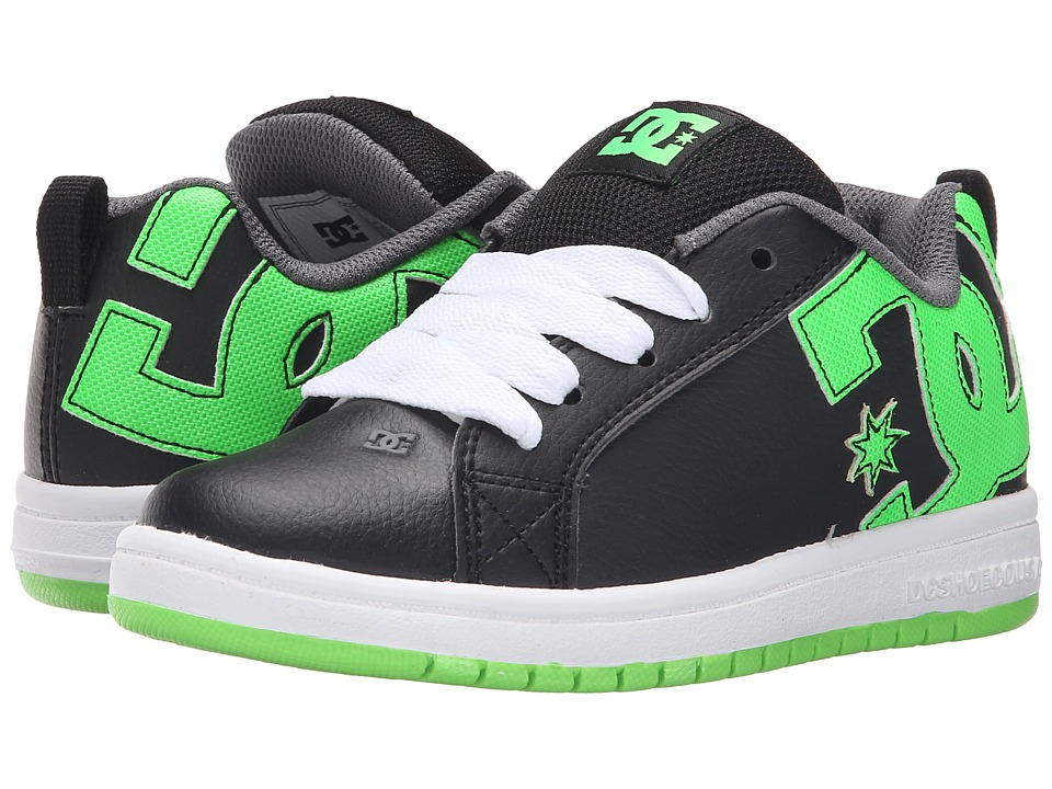 DC Kids - Court Graffik (Little Kid) (Black/Grass) Boys Shoes