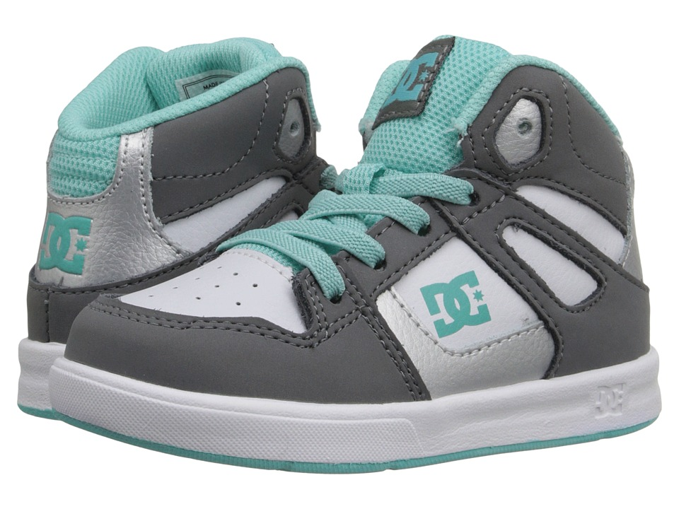 DC Kids - Rebound UL (Toddler) (Light Grey/Turquoise) Girls Shoes
