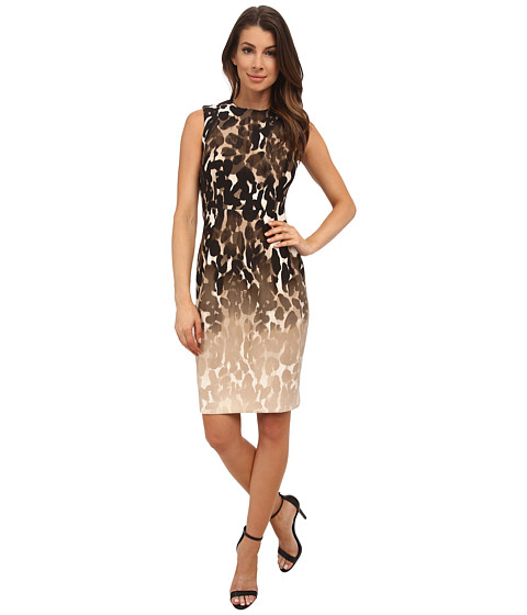 Calvin Klein - Scuba Printed Sheath Dress (Khaki Multi) Women