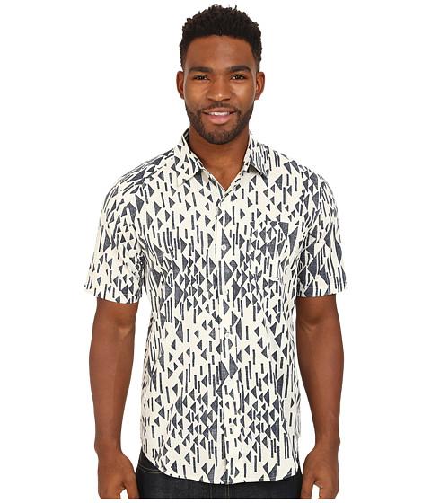 Volcom - Everett Print Short Sleeve Woven (Old Grey) Men's Clothing