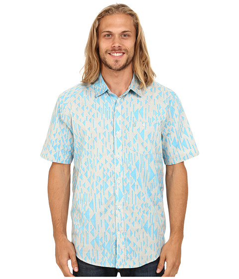 Volcom - Everett Print Short Sleeve Woven (Cement) Men's Clothing