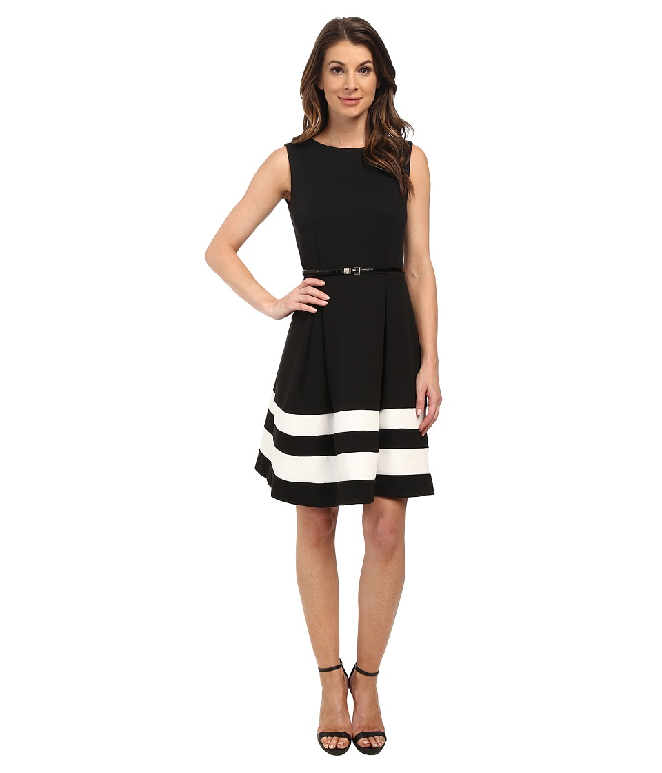 Calvin Klein - Ponte Fit Flare Dress (Black/Ivory) Women's Dress
