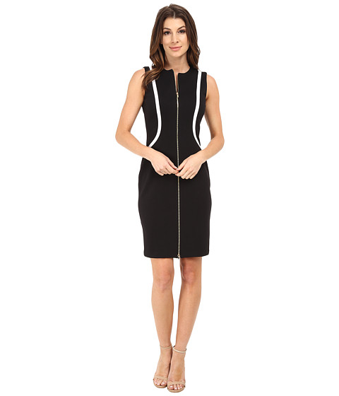 Calvin Klein - Zip Front Sheath Dress (Black/White) Women's Dress