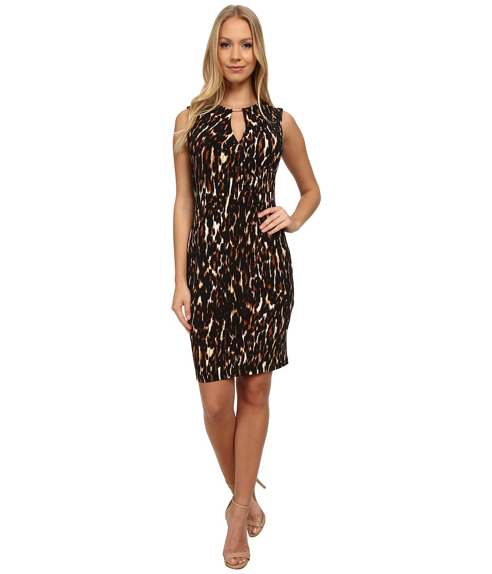 Calvin Klein - Animal Print Jersey Sheath Dress (Neutral Multi) Women's Dress