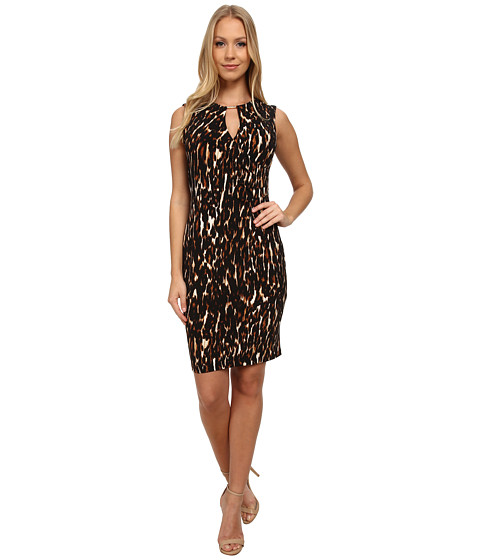 Calvin Klein - Animal Print Jersey Sheath Dress (Neutral Multi) Women