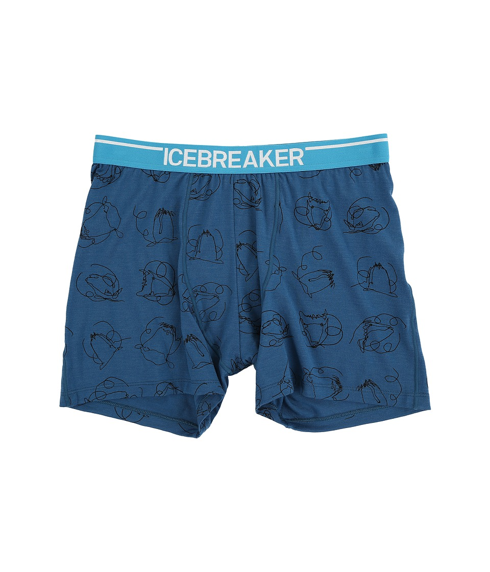 Icebreaker - Anatomica Boxers Heads Up (Shore/White) Men's Underwear