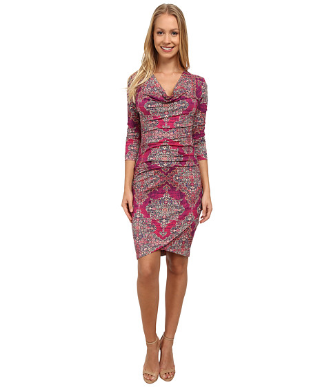 Nicole Miller - Luna Arabesque Jersey Dress (Amaranth Multi) Women