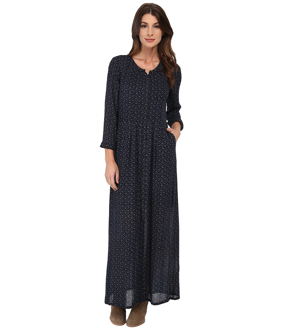 Lucky Brand - Indigo Dot Maxi Dress (Navy Multi) Women's Dress