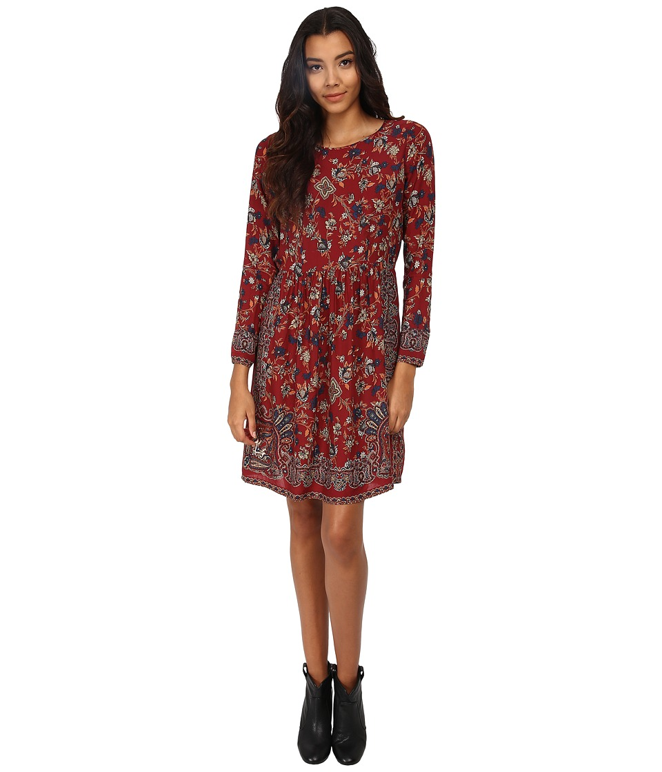 Lucky Brand Vintage Floral Dress (Red Multi) Women