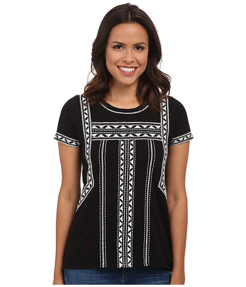 Lucky Brand - Pop Embroidered Tee (Lucky Black) Women