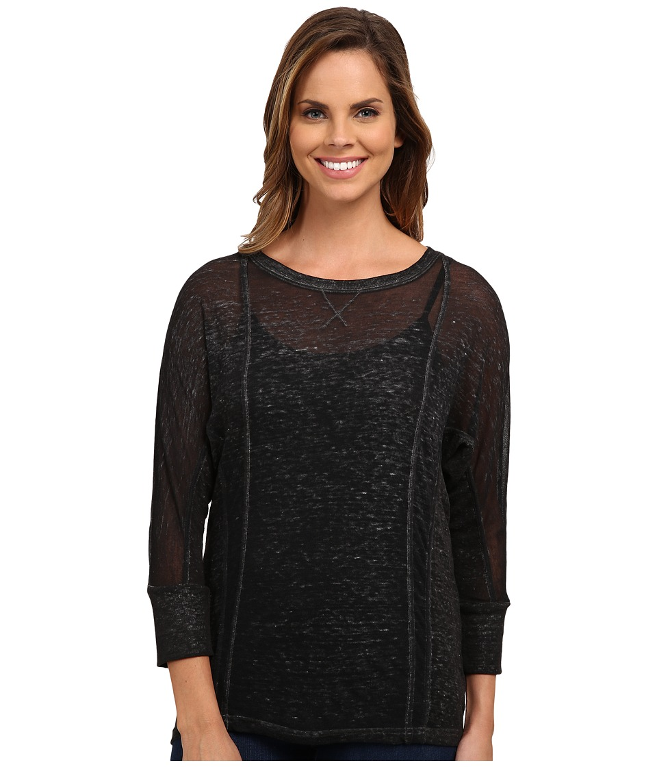 Lucky Brand Burnout Seamed Tee (Charcoal) Women