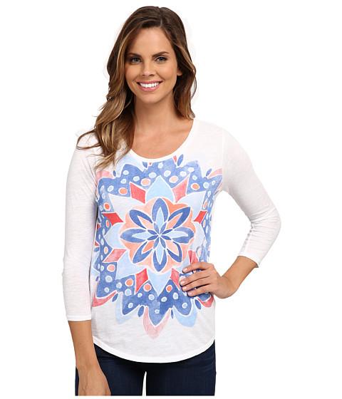 Lucky Brand - Watercolor Mandala Tee (Lucky White) Women's T Shirt