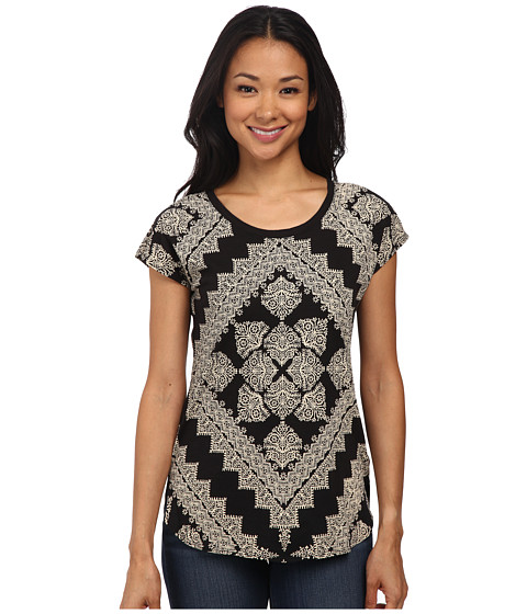 Lucky Brand - Sari Scarf Tee (Black Multi) Women