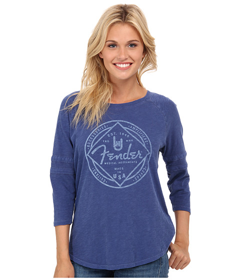 Lucky Brand - Fender Raglan Tee (Vibrant Blue) Women