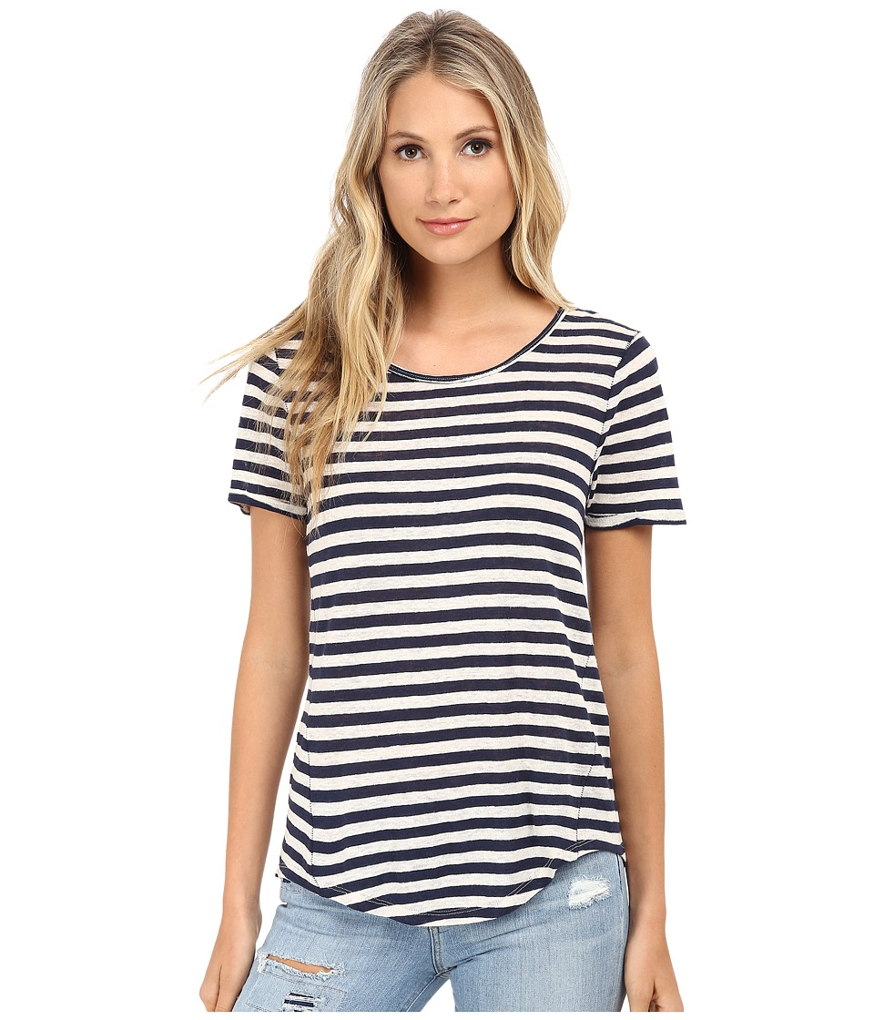 Lucky Brand - Striped Basic Tee (Blue Stripe) Women
