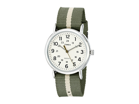 Timex - Weekender Stripe (Green/Silver Tone/Cream) Watches