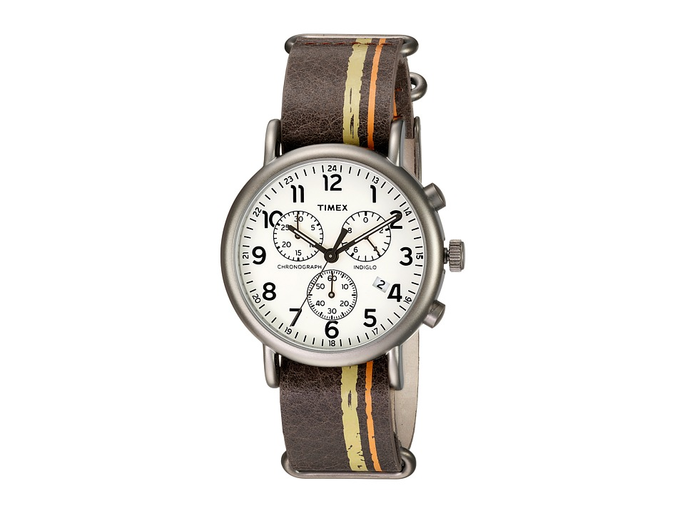 Timex - Weekender Chrono Oversize (Brown/Titanium/Cream) Chronograph Watches