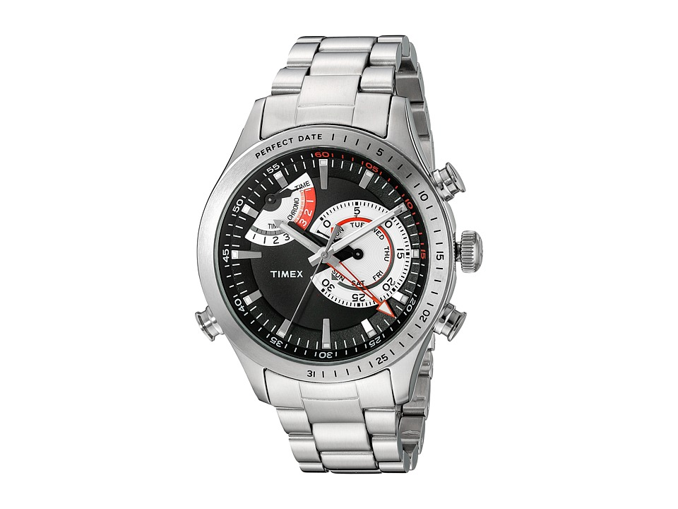 Timex - Intelligent Quartz Chrono Timer (Silver Tone/Black) Chronograph Watches