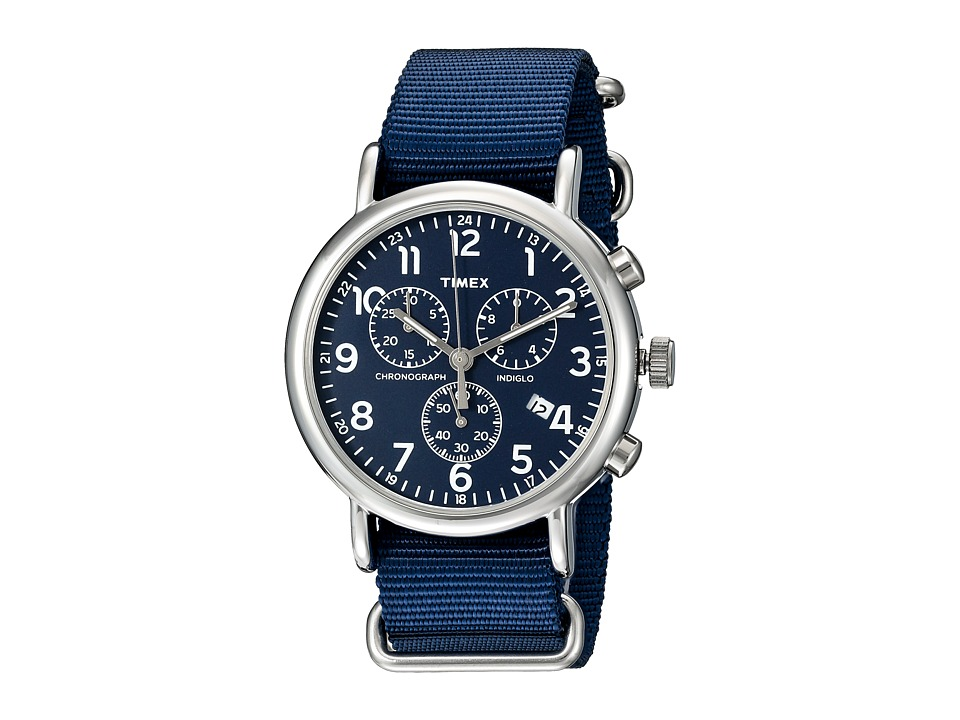 Timex - Weekender Chrono Oversize (Blue/Silver Tone) Chronograph Watches