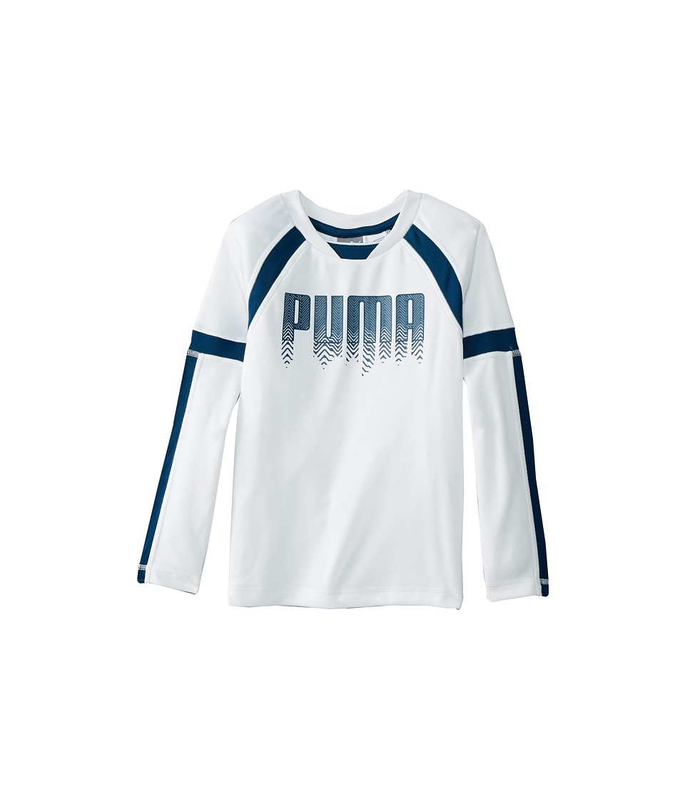 Puma Kids - Long Sleeve Color Block Tech Tee (Little Kids) (PUMA White) Boy