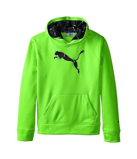 Puma Kids - Big Cat Hoodie (Big Kids) (Active Green) Boy