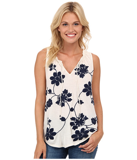 Lucky Brand - Soutache Embroidered Tank Top (Blue Multi) Women's Sleeveless