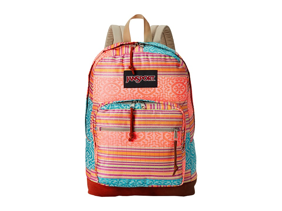 JanSport - Right Pack World (Fourescent Red Golden Summer) Backpack Bags