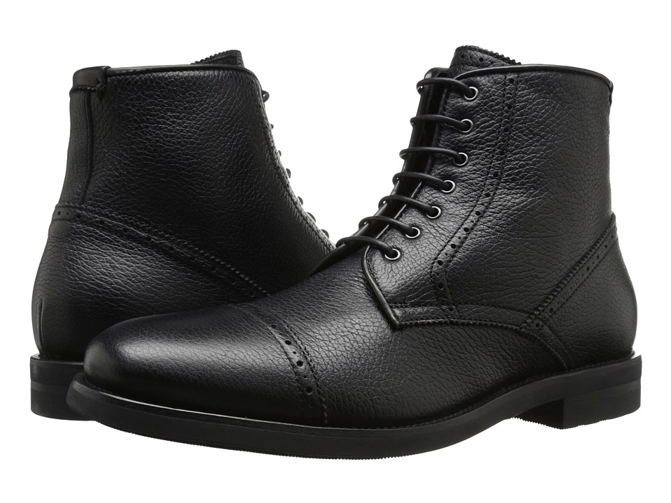 Aquatalia - Carter (Black Tumbled Pebble Waxy Pull Up) Men's Lace-up Boots