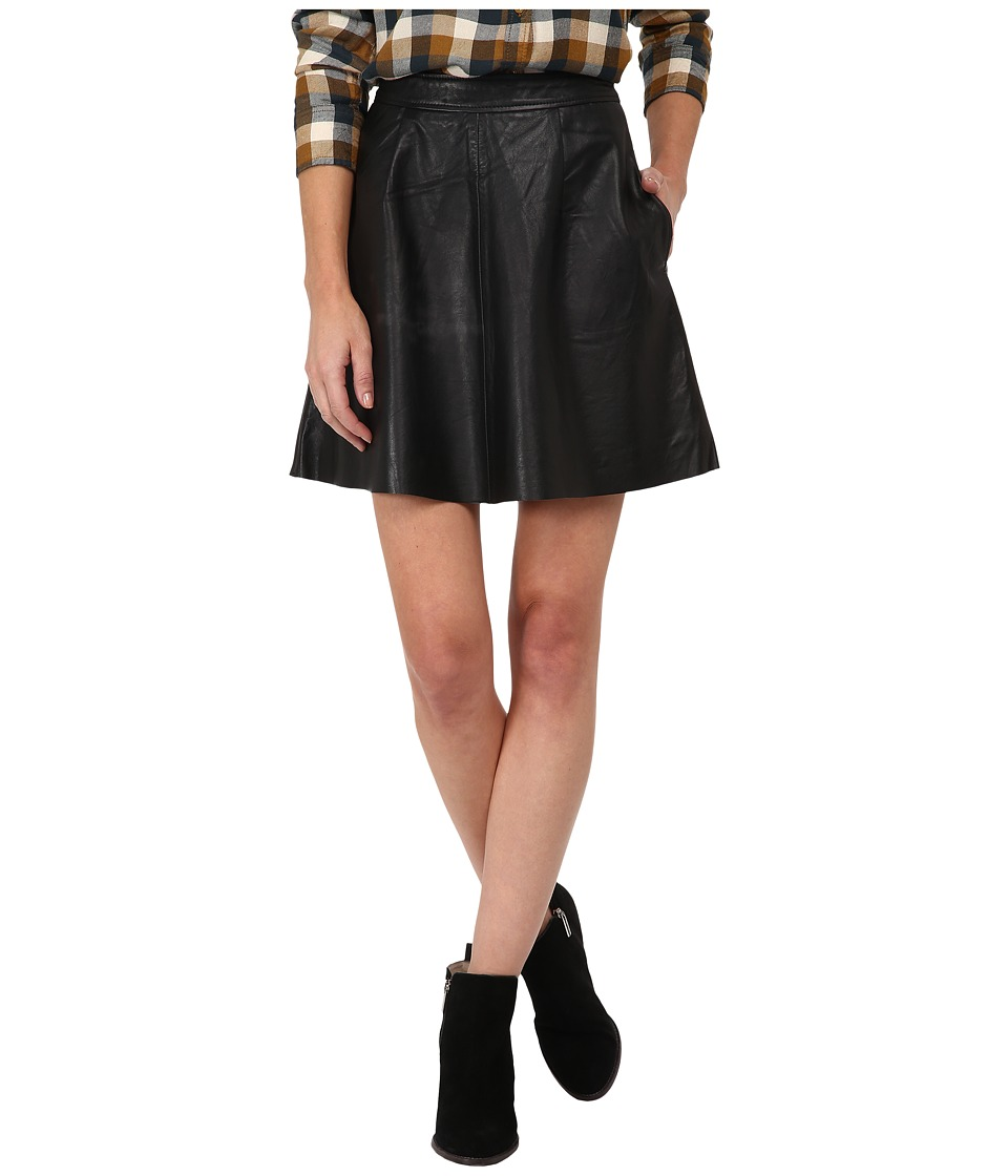 Lucky Brand - Leather Flirty Skirt (Lucky Black) Women's Skirt