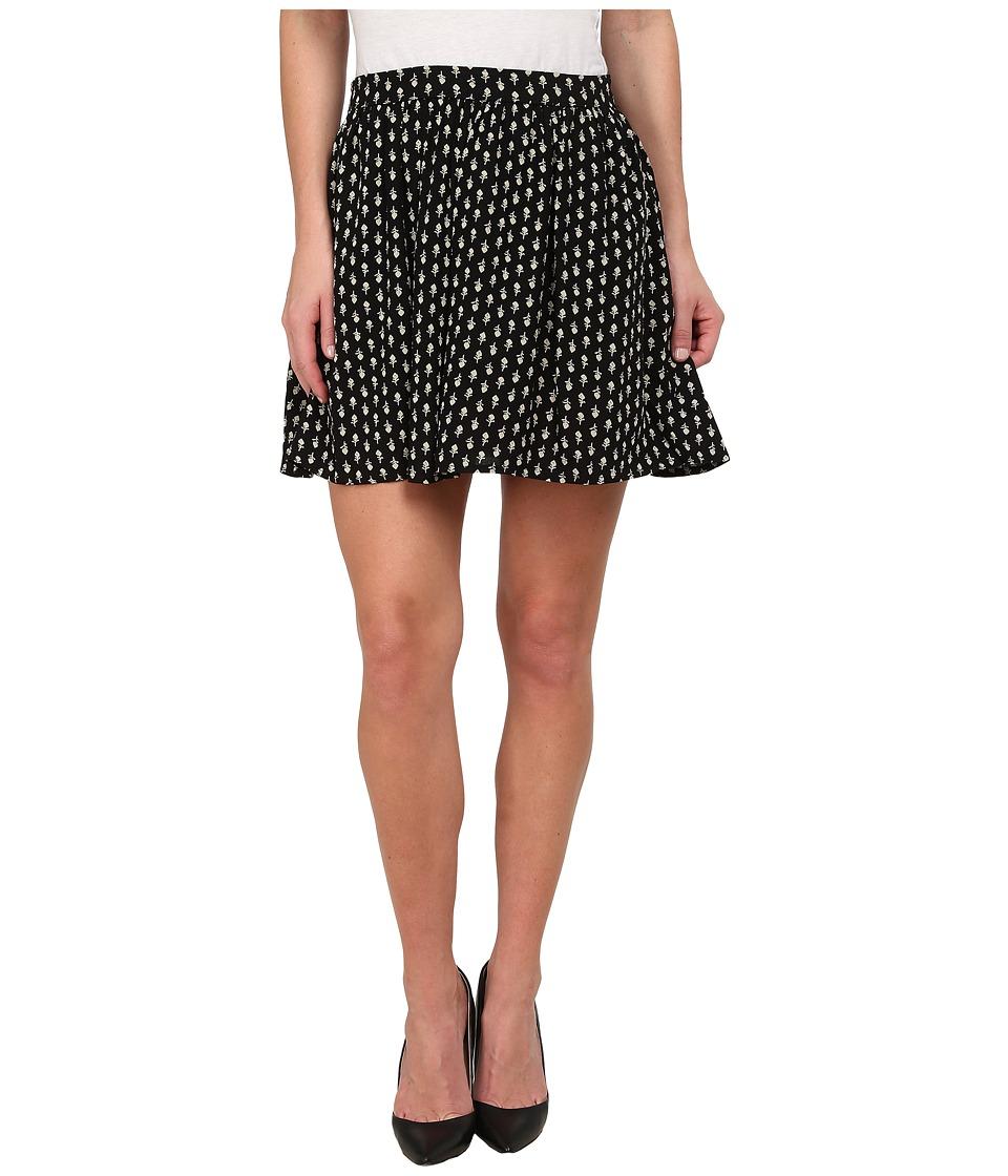 Lucky Brand - Woodstamp Flirty Skirt (Black Multi) Women's Skirt