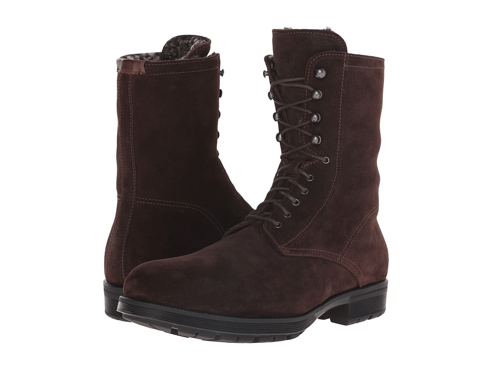 Aquatalia - Hayden (Dark Brown Waxy Suede/Shearling) Men's Lace-up Boots