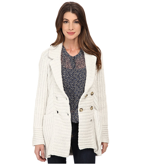 Lucky Brand - Ribbed Sweater Coat (Light Heather Grey) Women