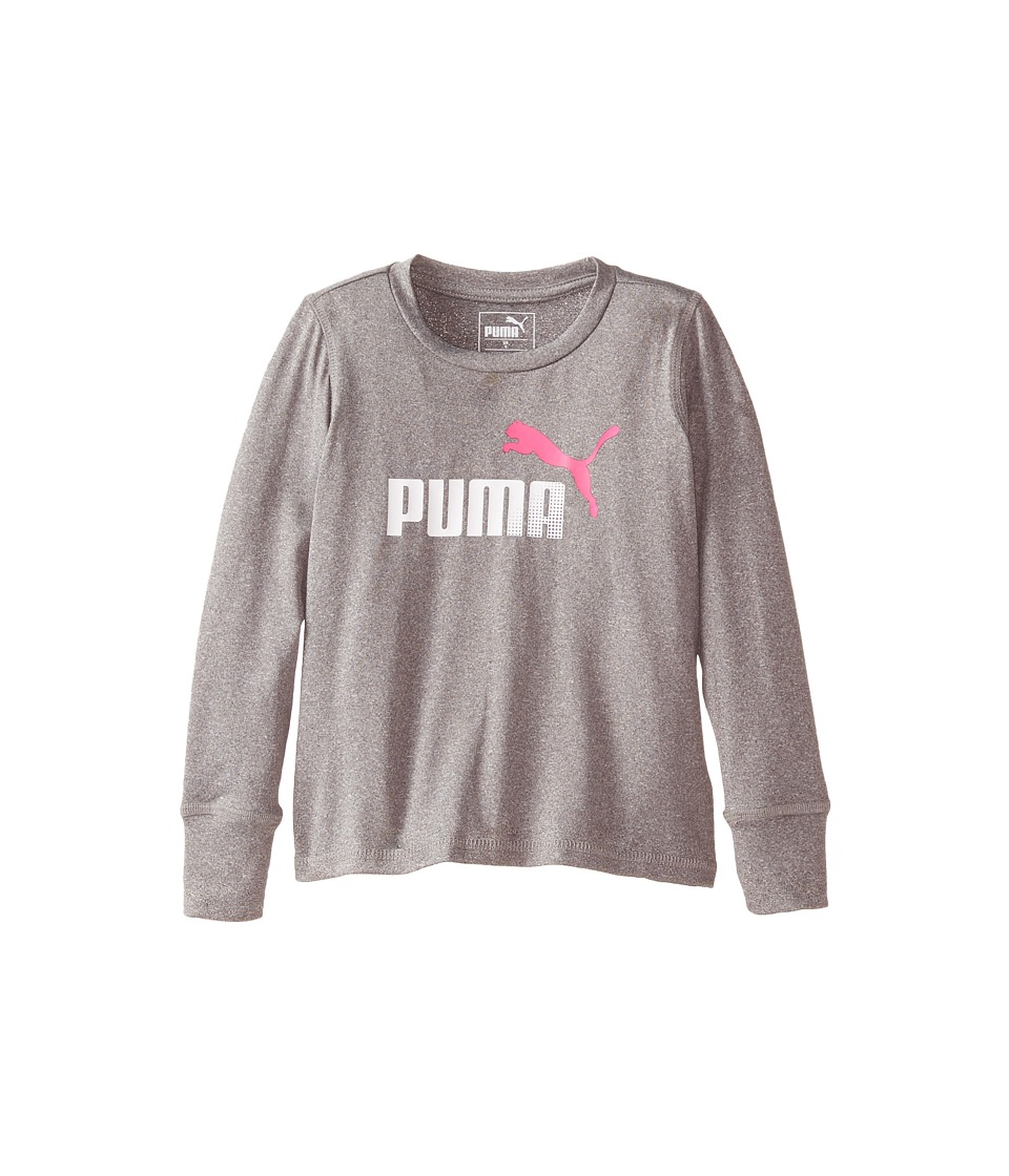 Puma Kids - Forever Faster Long Sleeve Tech Tee (Little Kids) (Medium Grey Heather) Girl's T Shirt