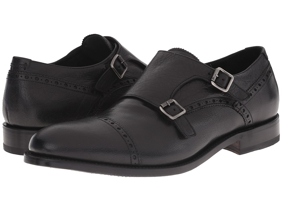 Aquatalia - Fallon (Black Pebbled Buffalo Calf) Men's Monkstrap Shoes