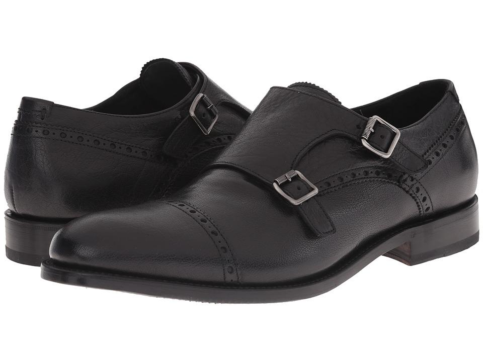 Aquatalia - Fallon (Black Pebbled Buffalo Calf) Men's Monkstrap Shoes