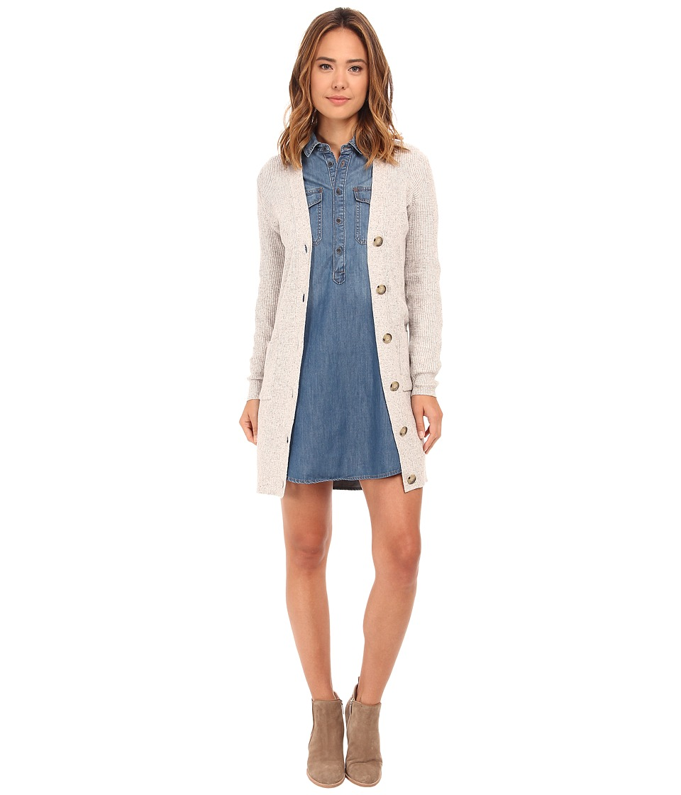 Lucky Brand - Rib Cardigan (Heather Grey) Women's Sweater