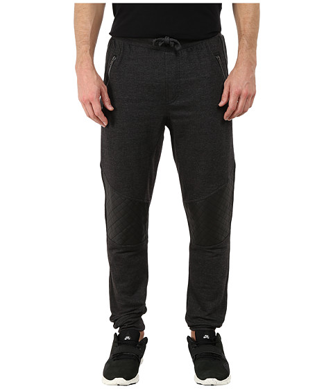 Request - Quilted Jogger Pants with Zipper Trims (Black Heat) Men's Casual Pants