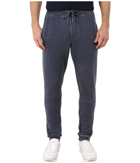 Request - Burnout Quilted Fleece Jogger Pants (Navy) Men's Casual Pants