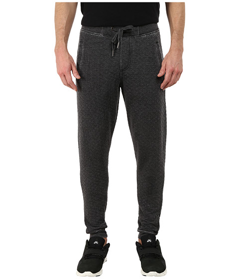 Request - Burnout Quilted Fleece Jogger Pants (Black) Men's Casual Pants