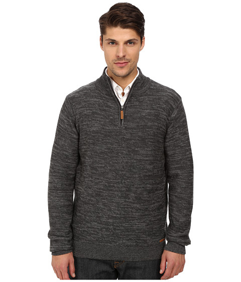 London Fog - 1/4 Zip Marled Textured Sweater (Overcast Heather) Men