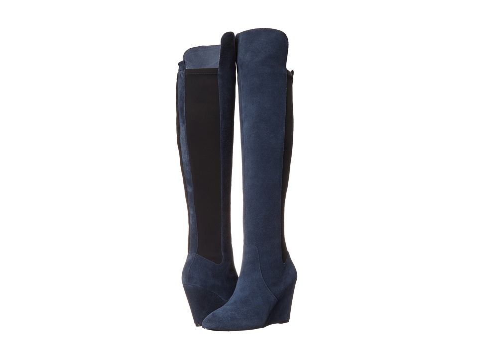 Charles by Charles David - Edie (Navy Suede/Lycra) Women's Zip Boots