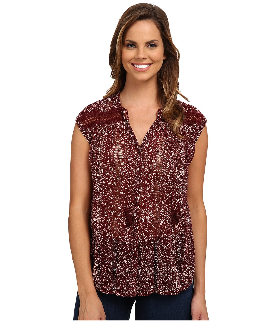 Lucky Brand - Floral Inset Top (Red Multi) Women's Clothing